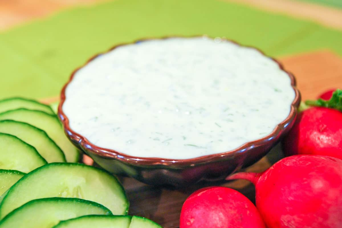 Easy Creme Fraiche Dip with Lemon and Herbs