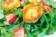 Fried Goat Cheese, Strawberry and Arugula Salad