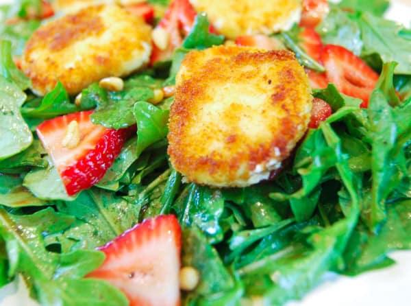 Fried Goat Cheese, Strawberry and Arugula Salad