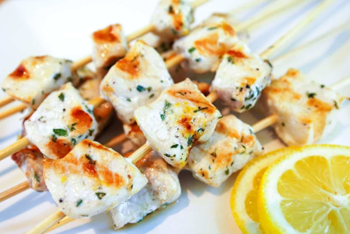 Lemon Pepper Grilled Swordfish Kabobs