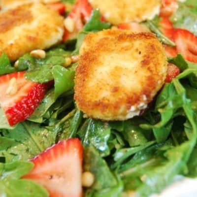 Warm Goat Cheese, Strawberry & Arugula Salad Recipe