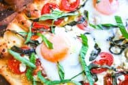 Breakfast Pizza Recipe with Tomatoes and Eggs