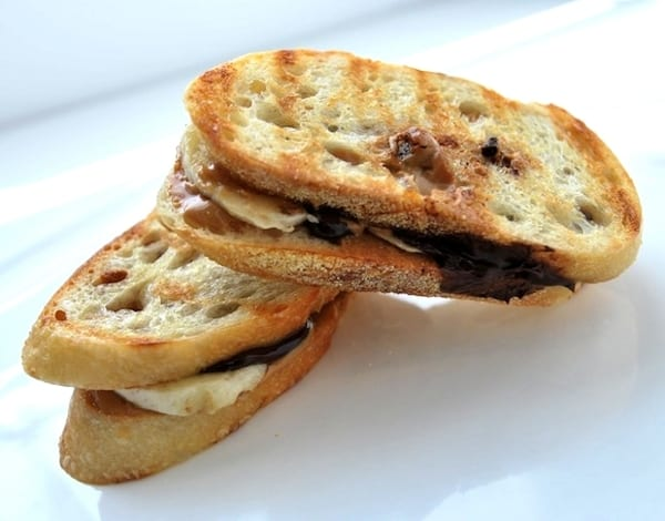 Banana Peanut Butter and Chocolate Sandwiches