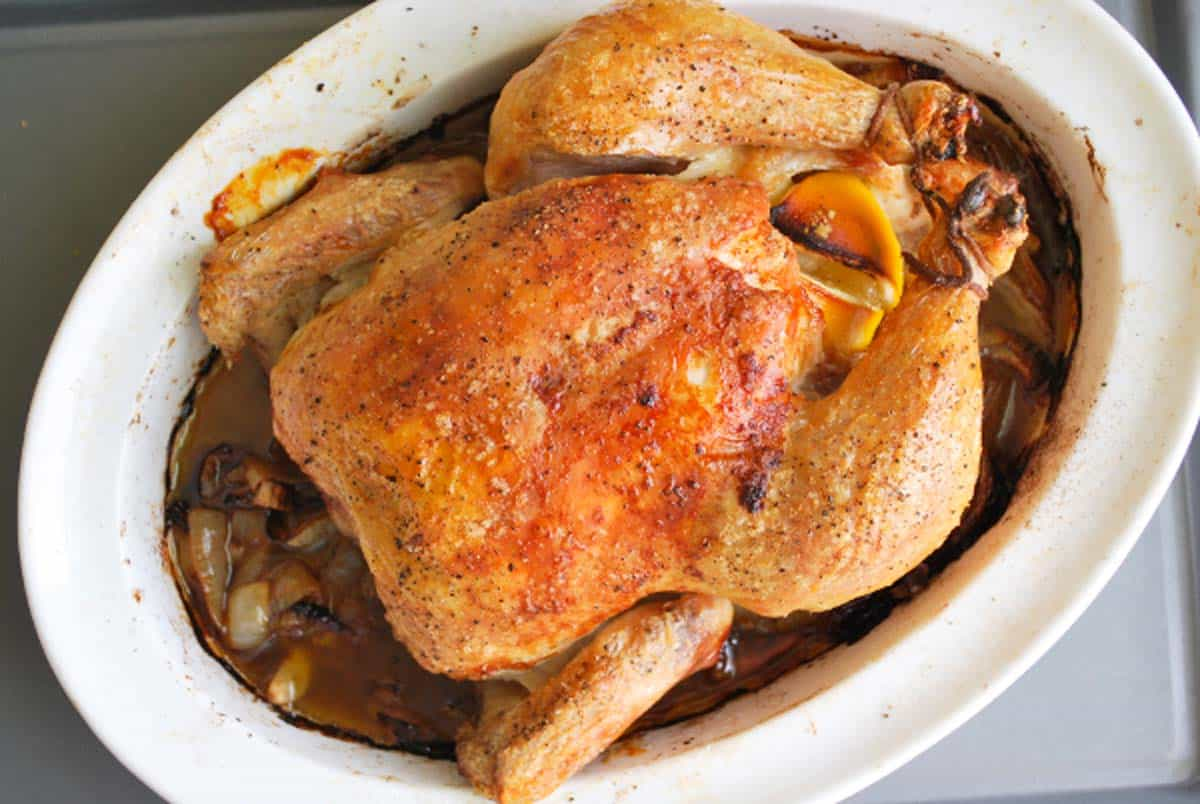 Simple Roasted Chicken Recipe with Lemon and Garlic