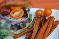 Guiness Burger and Butternut Squash Fries