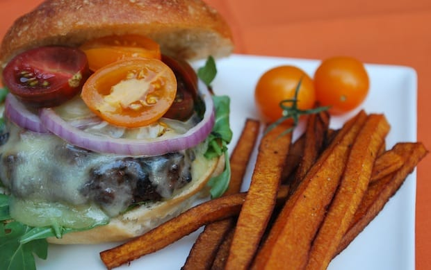 Stout Beer Burger with Butternut Squash Fries