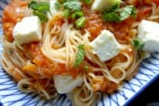 Roasted Tomato Sauce with Mint and Feta Cheese Recipe