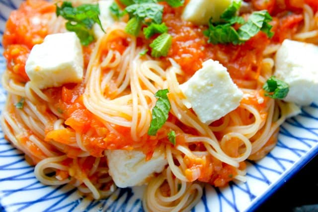 Pasta with Roasted Tomato Sauce, Mint and Feta