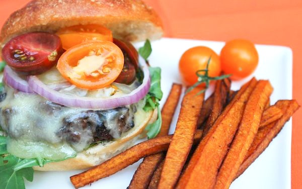 Stout Beer Burger Recipe with Butternut Squash Fries