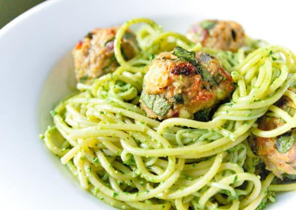 Spaghetti and Turkey Meatballs with Spinach Pesto