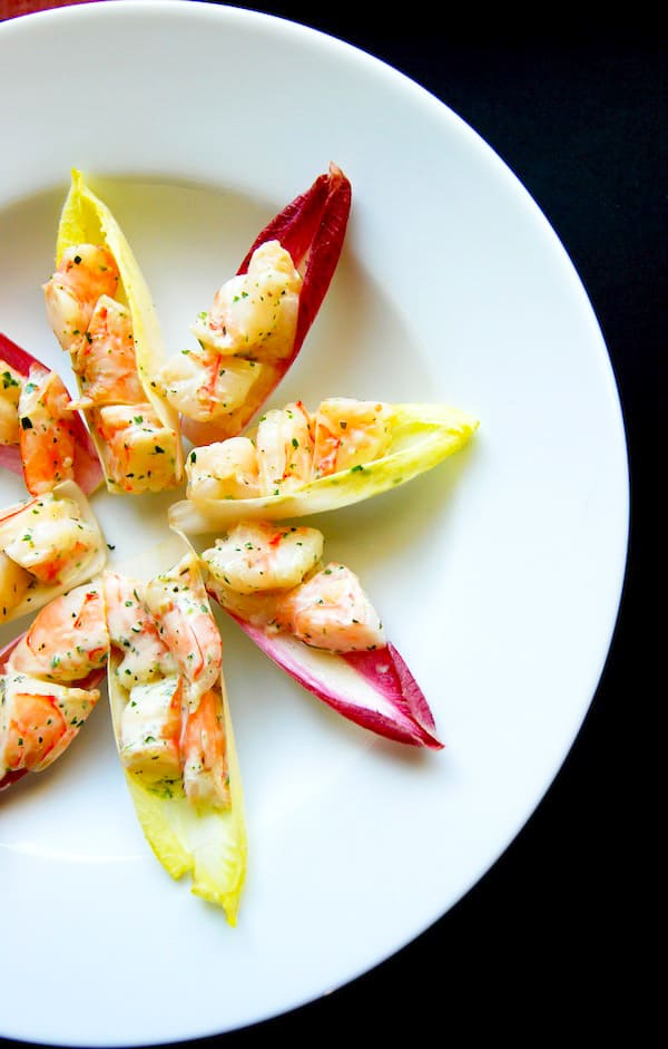 Herbed Shrimp Salad Recipe on Endive Spears