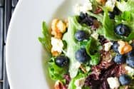 Simple Salad with Blueberries, Blue Cheese and Walnuts
