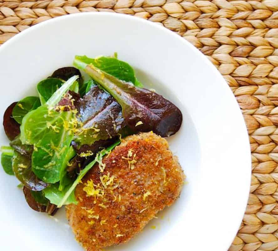 Pork Milanese with Lemony Green Salad