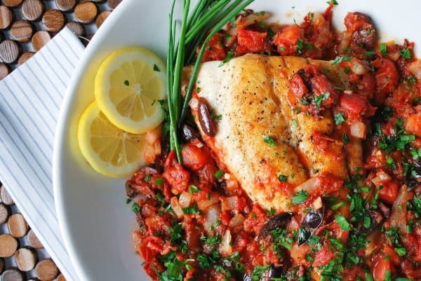 Pan Seared Snapper with Spicy Tomato and Herb Sauce