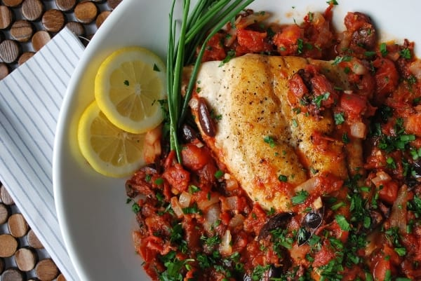 Snapper with a Spicy Tomato, Citrus and Herb Sauce