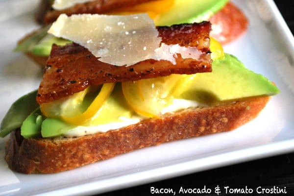 Bacon, Avocado and Tomato Crostini