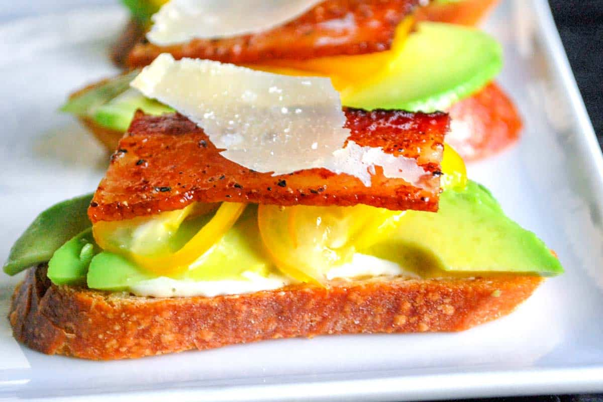 Bacon Tomato And Avocado Open Faced Sandwiches