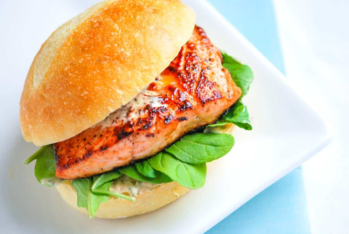 Pan Seared Salmon Burger with Chipotle Mayonnaise