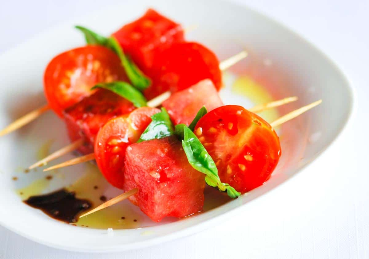 Tomato, Watermelon and Basil Salad Skewers with Balsamic