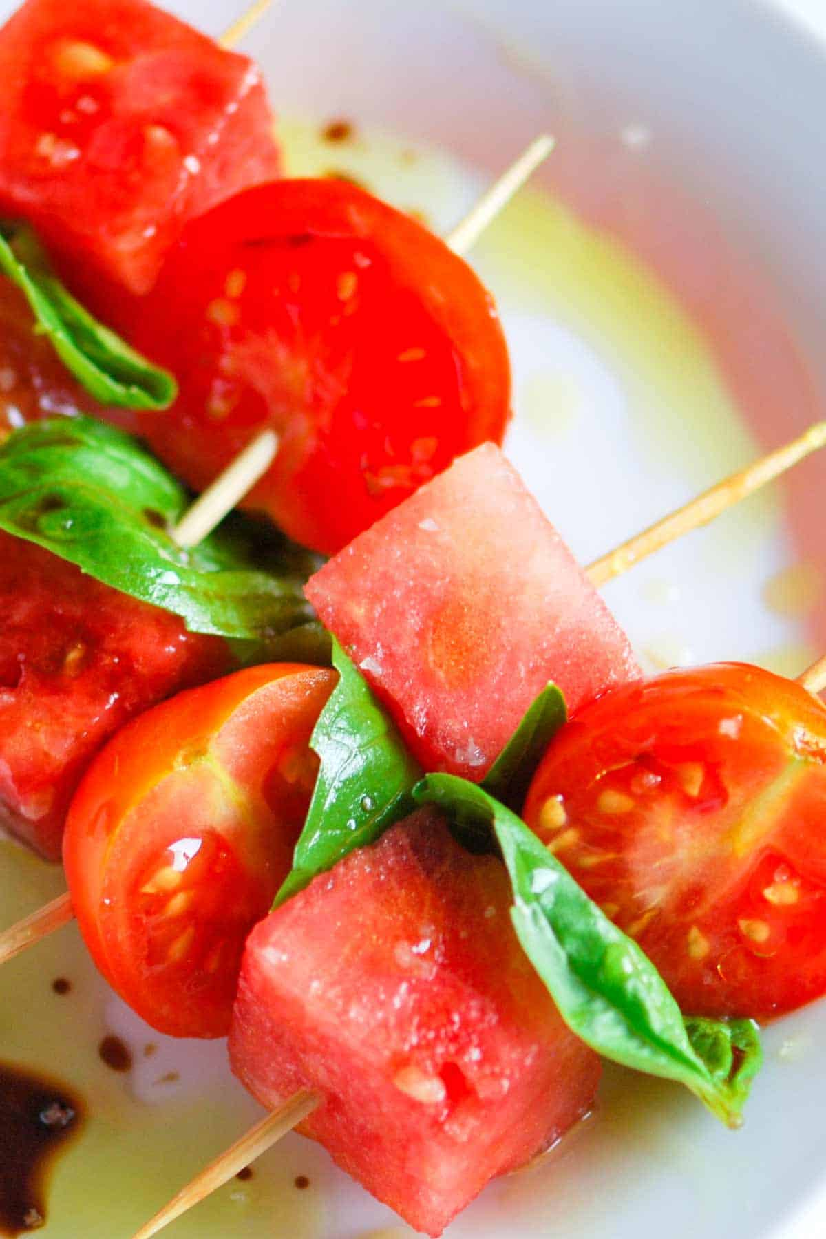 Easy Appetizer Recipe with Watermelon, Tomato and Basil
