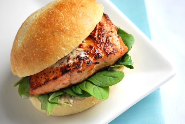 Pan Seared Salmon Sandwich with Chipotle Mayonnaise from Inspired Taste