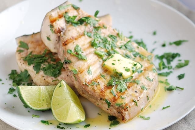 Grilled swordfish with coriander and lime recipe for Sword fish recipes