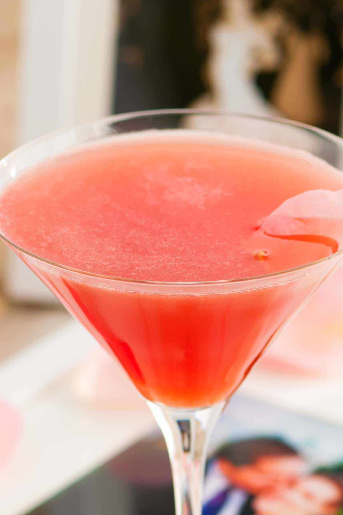 Fresh Watermelon and Tea Martini Cocktail