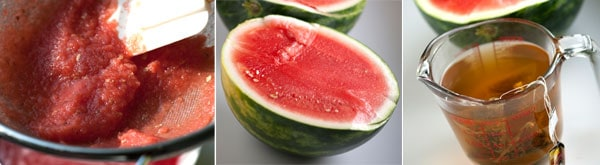 Watermelon Strained, Watermelon half, and tea