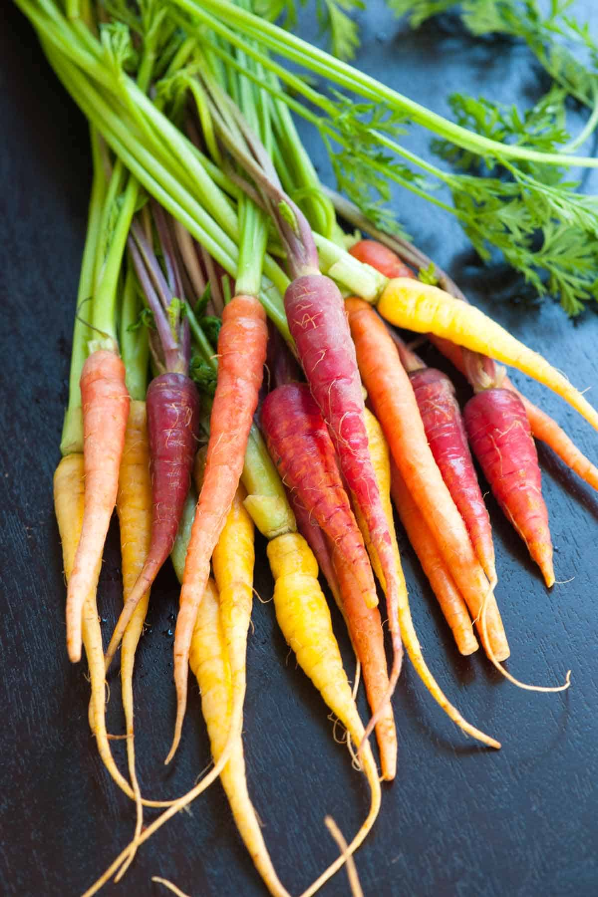 Baby rainbow carrots