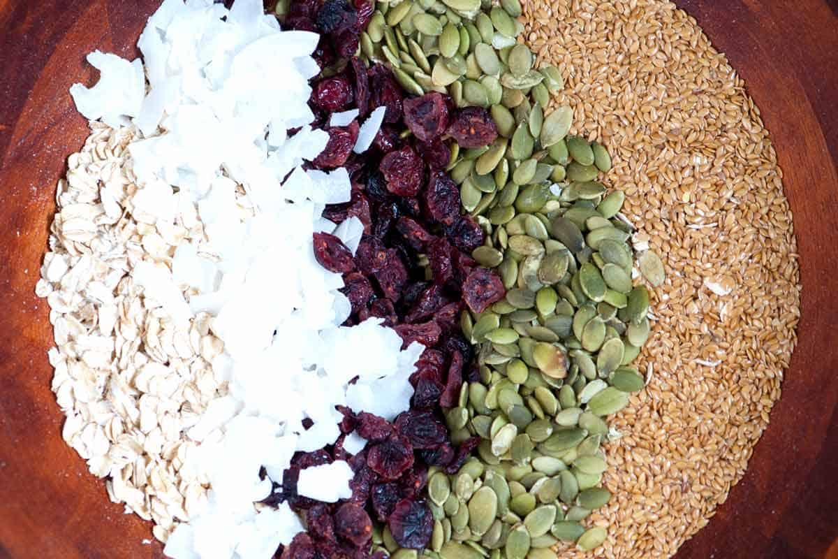 Ingredientes de barra de granola