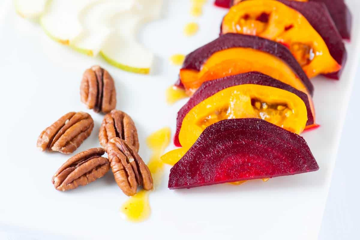 Roasted Beets with Pears and Tomato Salad