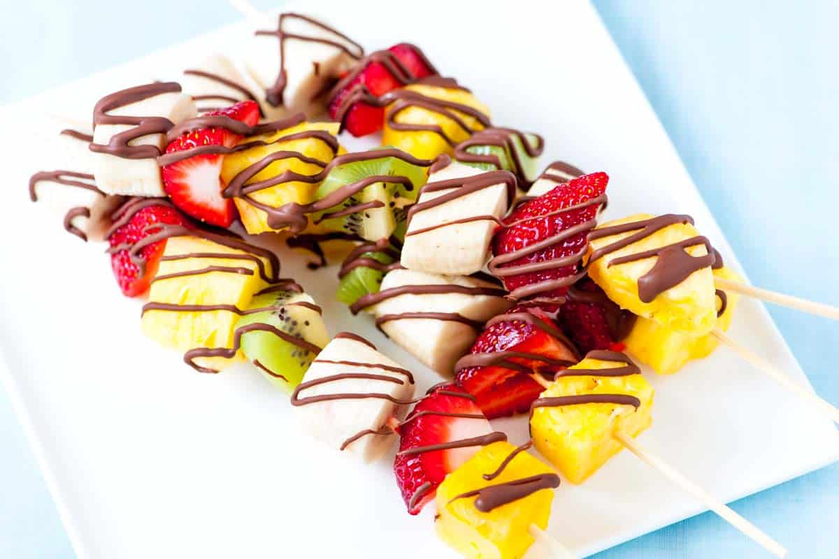 Frozen Fruit Kabobs with Chocolate Drizzle