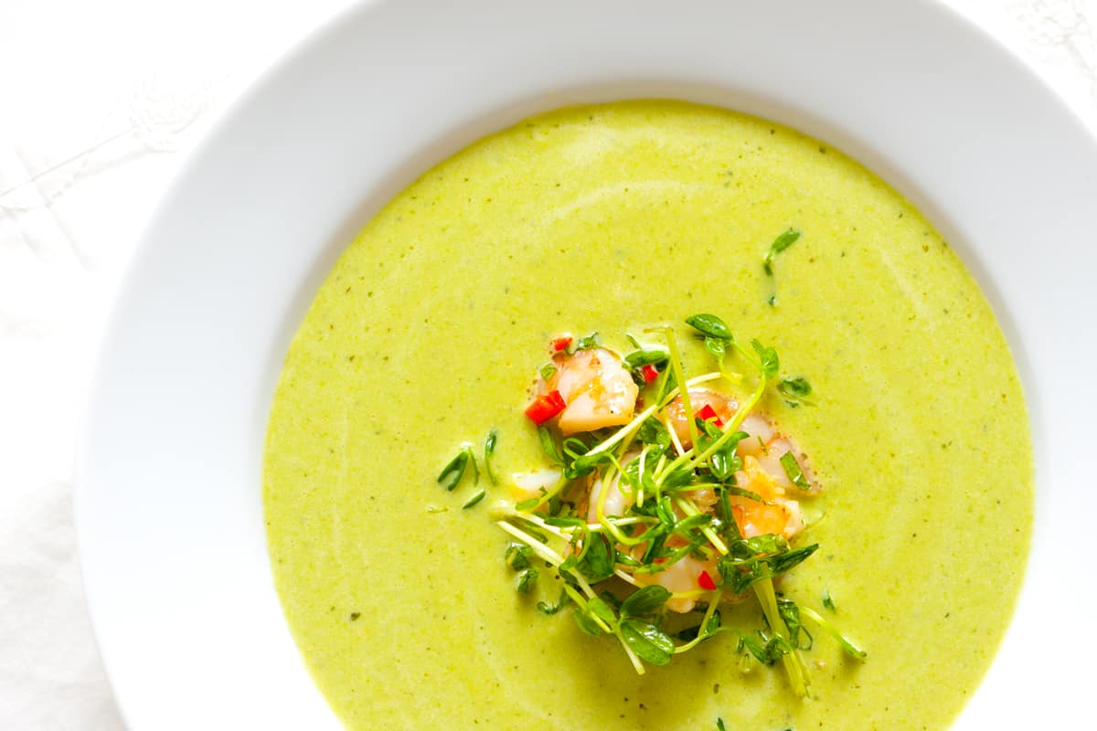 Chilled Pea Soup Recipe with Shrimp