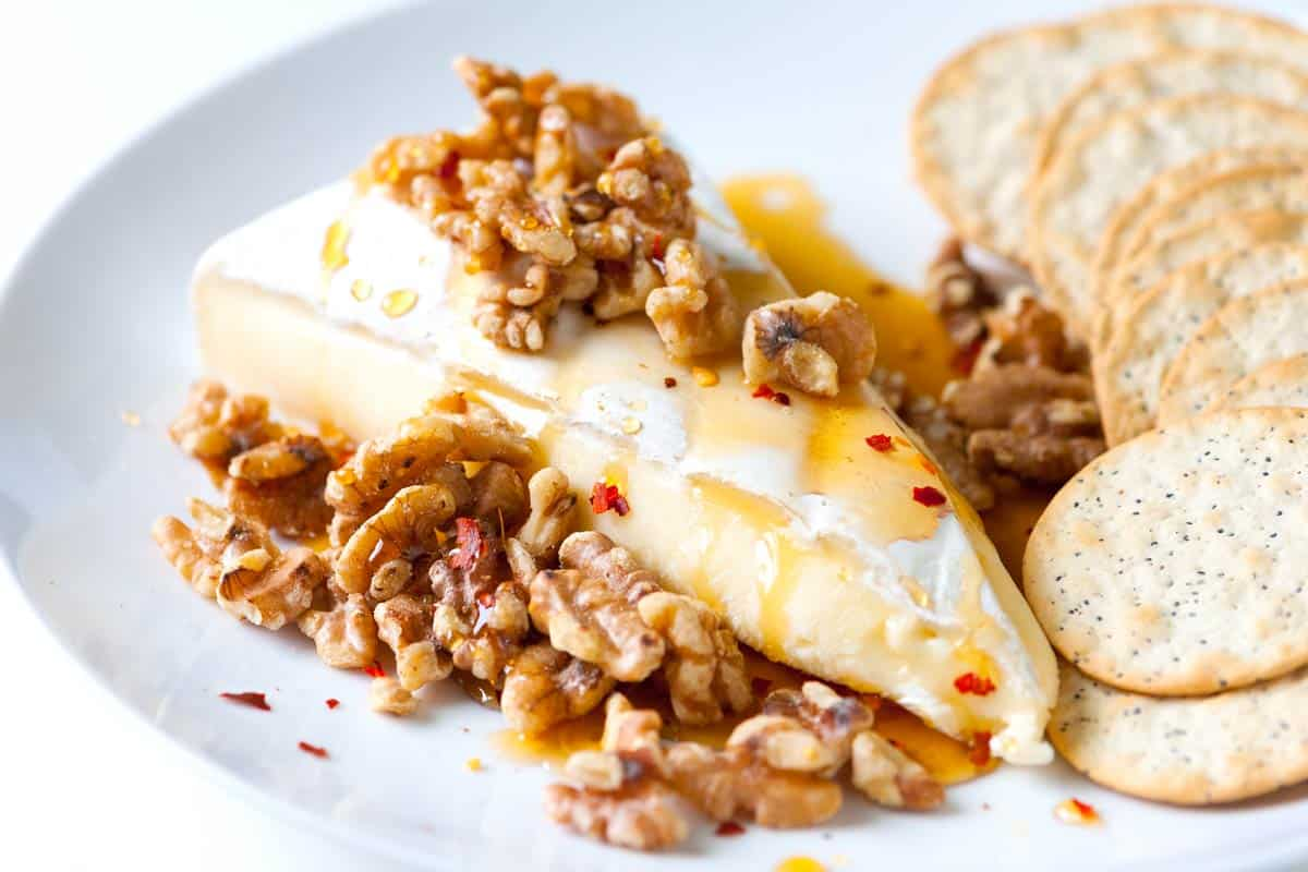 Brie with Warm Honey and Toasted Walnuts