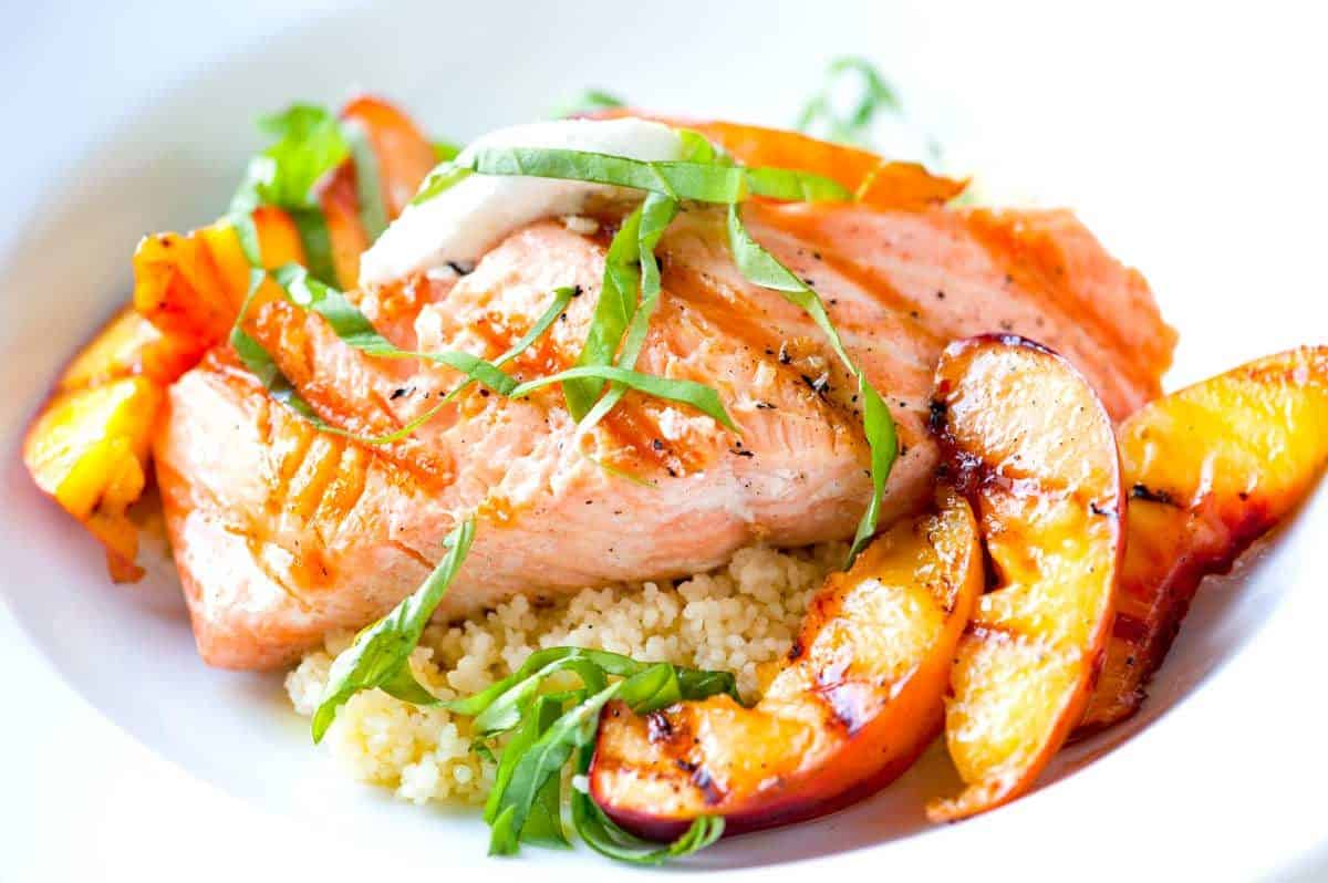 Grilled Salmon Recipe with Nectarines and Goat Cheese