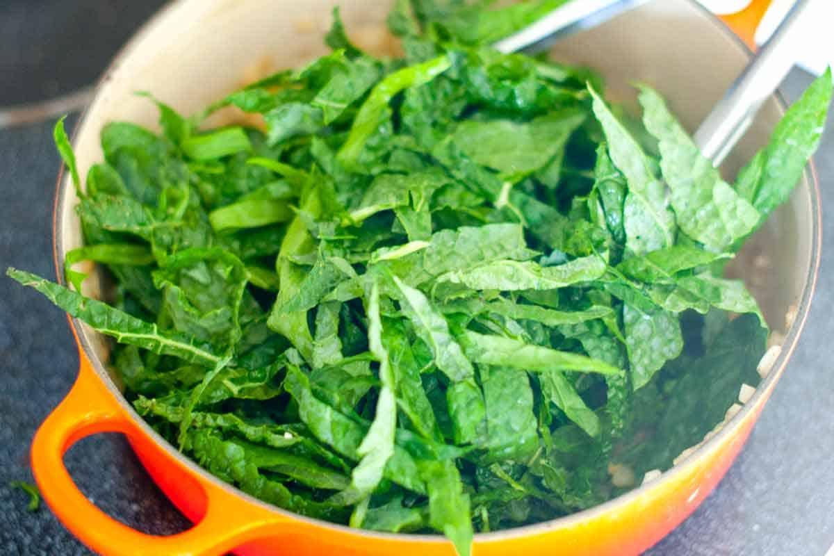 Adding the kale
