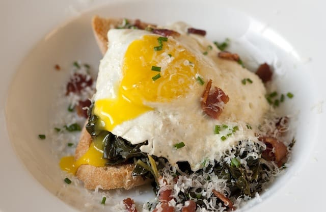 Braised Kale Recipe with Egg and Toast