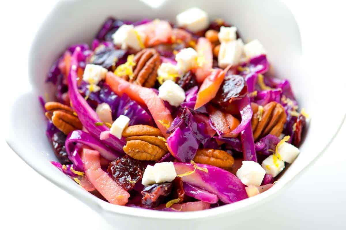 Warm Apple Cabbage Salad Recipe with Pecans