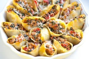 Baked Stuffed Shells Recipe with Sausage and Spinach