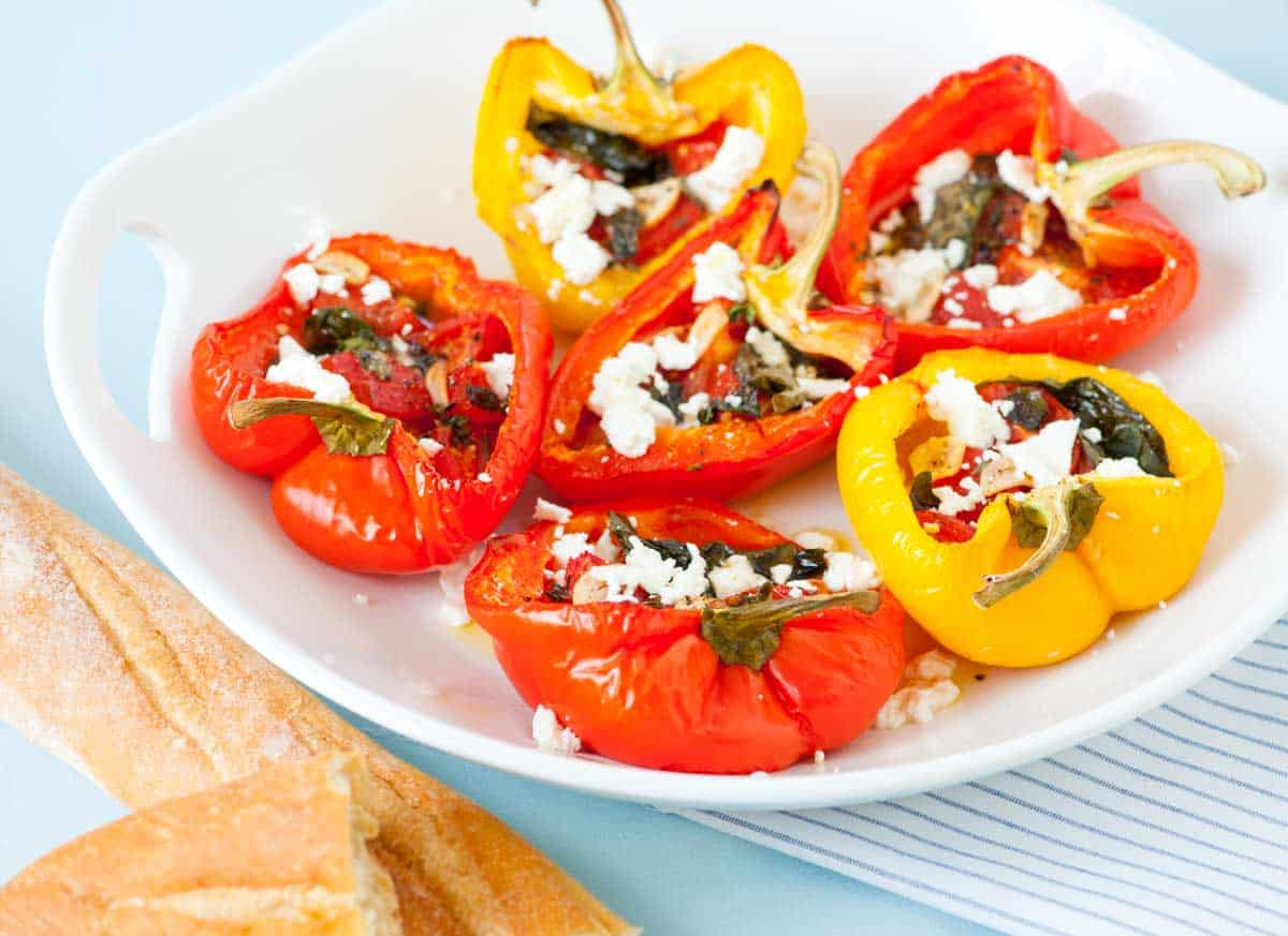 Baked Tomato Garlic Stuffed Peppers Recipe