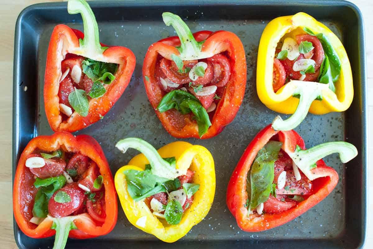 Filled pepper halves ready to bake.