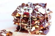 Dark Chocolate Bark with Coconut and Pretzels