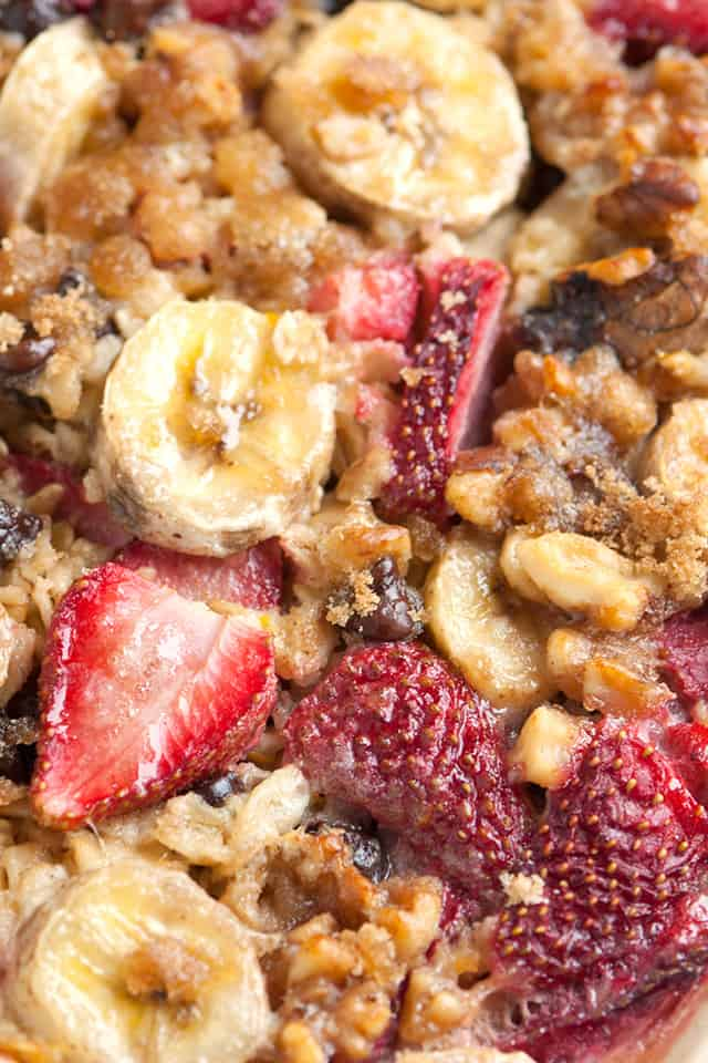 Oatmeal that's been baked with brown sugar, milk, fruit and nuts