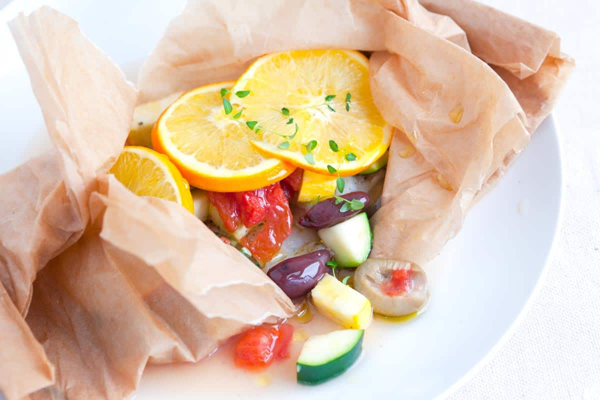 Easy Baked Fish in Parchment with Orange and Olives