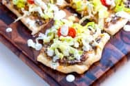 Easy Black Bean Pizza Topped with Salad