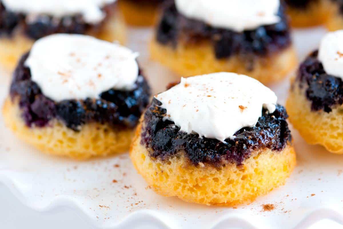 Mini Upside Down Blueberry Cakes