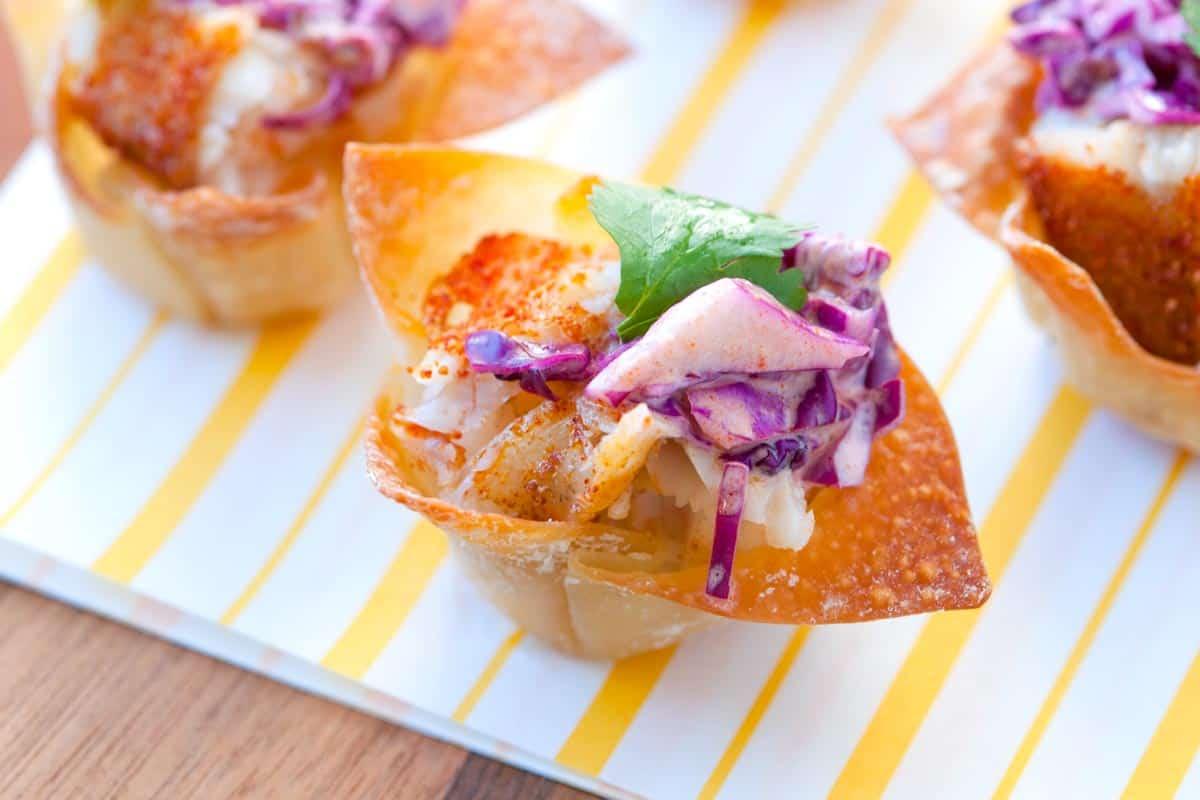 Mini Fish Tacos in Wonton Cups