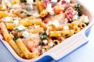 Baked Ziti Recipe with Shrimp and Spinach