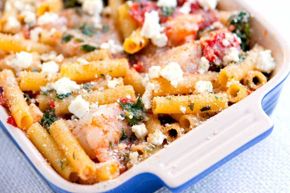 Baked Ziti with Shrimp and Spinach
