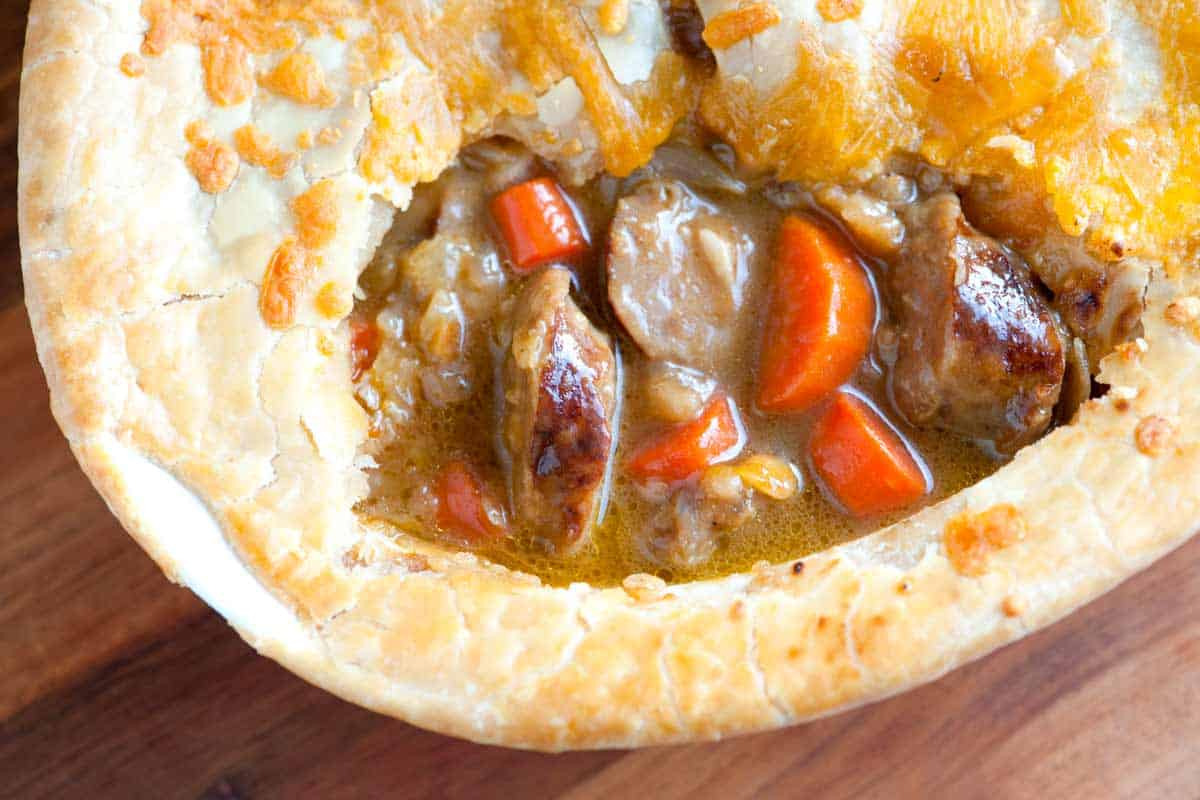 Sausage, Cheddar and Guinness Pie Recipe